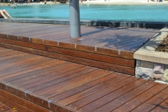 Decking with step by a pool