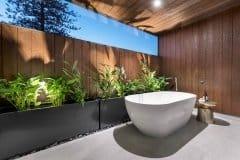 Outdoor bathroom external timber cladding