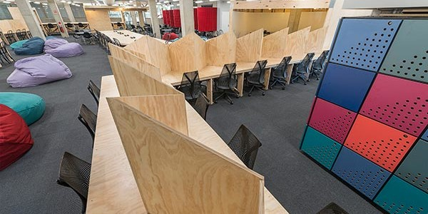 Wooden dividers in library