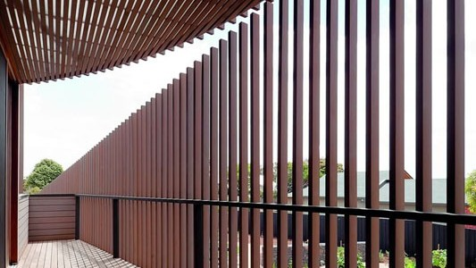 slatted timber exterior for wind protection