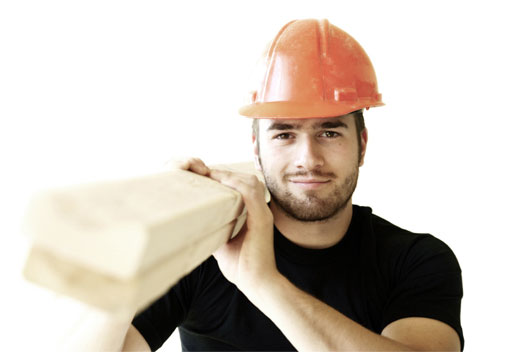Builder with wooden planks