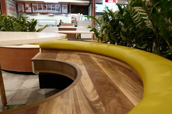 Brisbane airport spotted gum seating