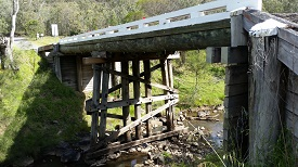 Timber bridge over a creek